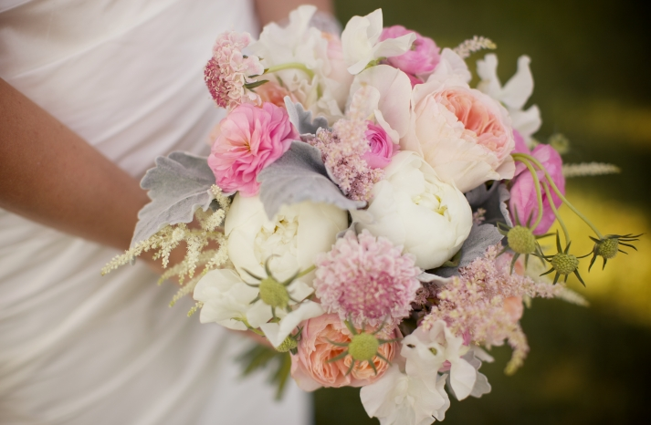 romantic pink and peach bridal bouquet for summertime