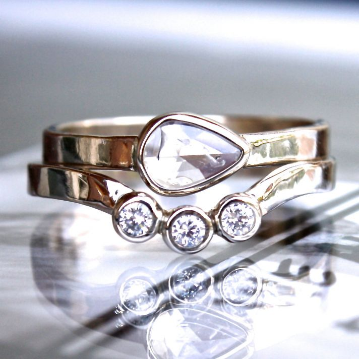 white gold shadow wedding band with three diamonds