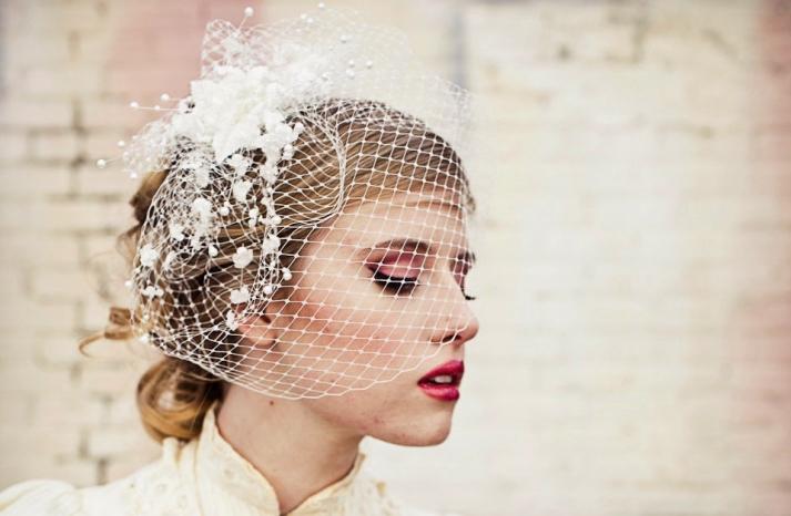 Birdcage veil with vintage flower spray