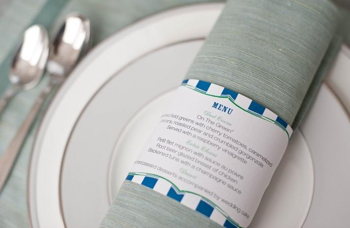 Printable striped napkin rings for wedding reception