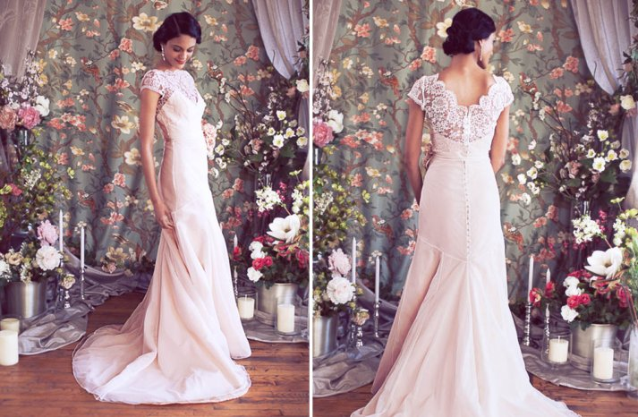 Lace illusion neckline wedding dress with capsleeves in blush pink