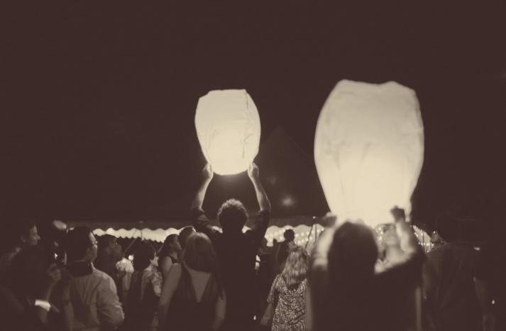 wish lanterns for hipster weddings