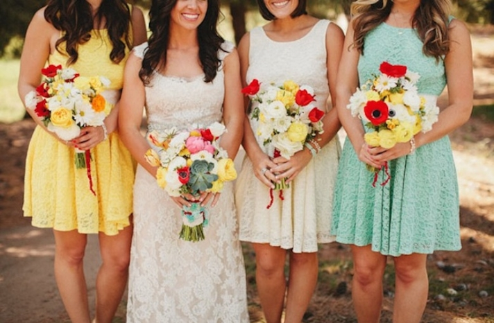 whimsical dr seuss themed wedding reception bridesmaids bouquets