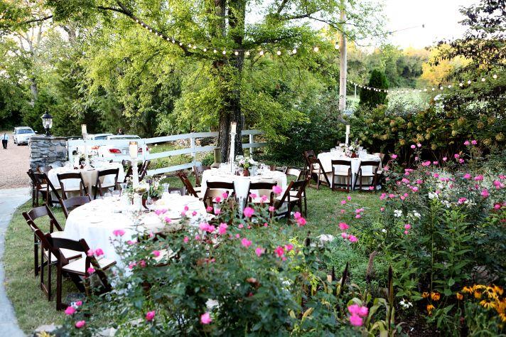 Romantic outdoor wedding reception setup