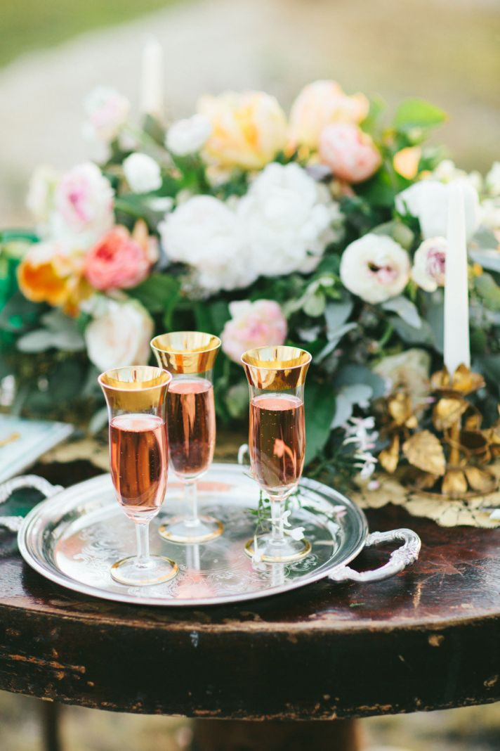 rose champagne at enchanted wedding reception