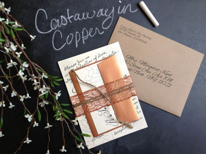 copper and rose gold wedding invitations