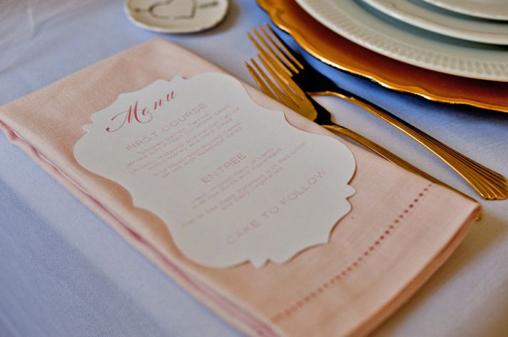 Rose gold wedding reception place setting