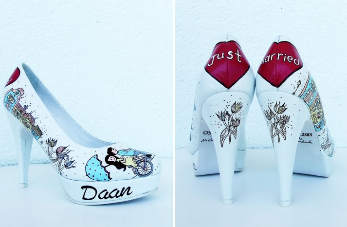 Hand painted wedding shoes for offbeat brides