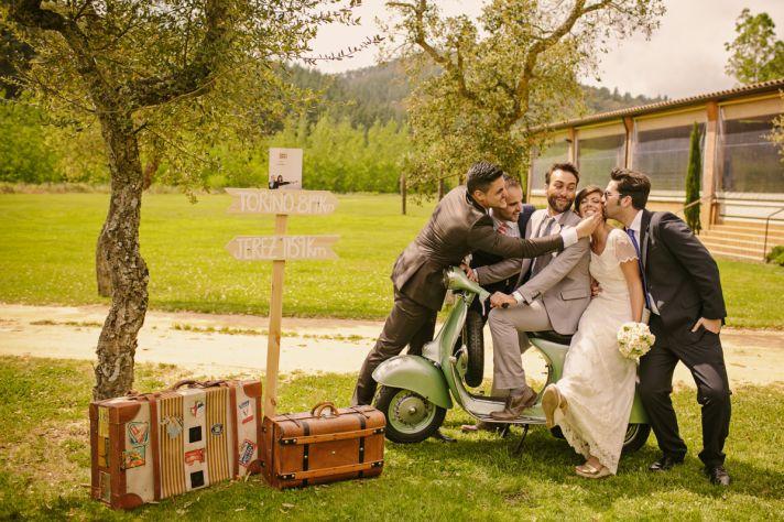 Real Spanish Wedding Otaduy Wedding Dress Outdoor Romantic Bride and Groomsmen on Vespa