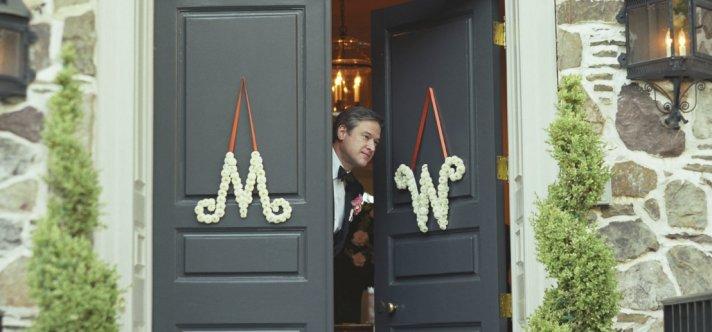 White monogram wedding flower door decor