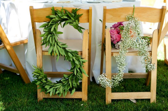 Leaves and babys breath wedding initials