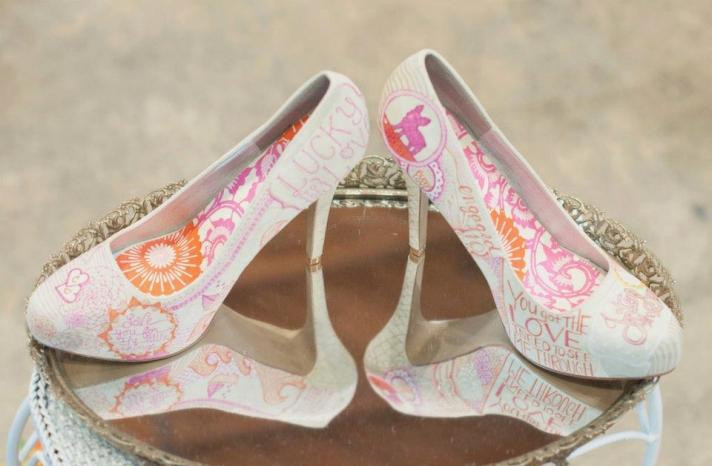 White orange and pink custom wedding shoes