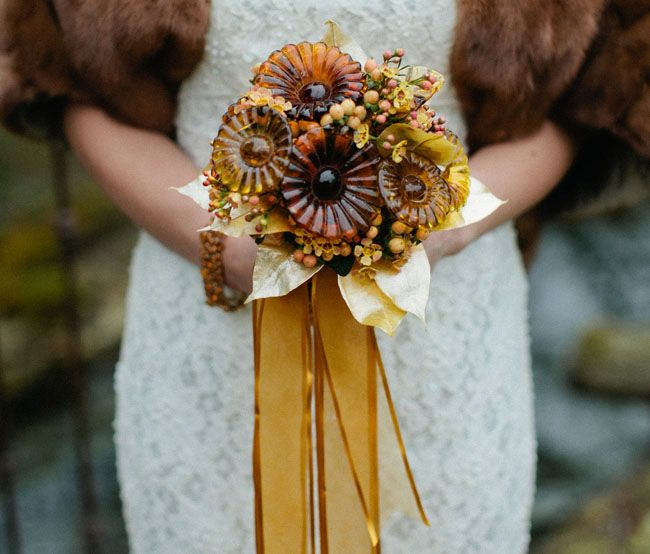 patina styled wedding shoot unique brooch bouquet