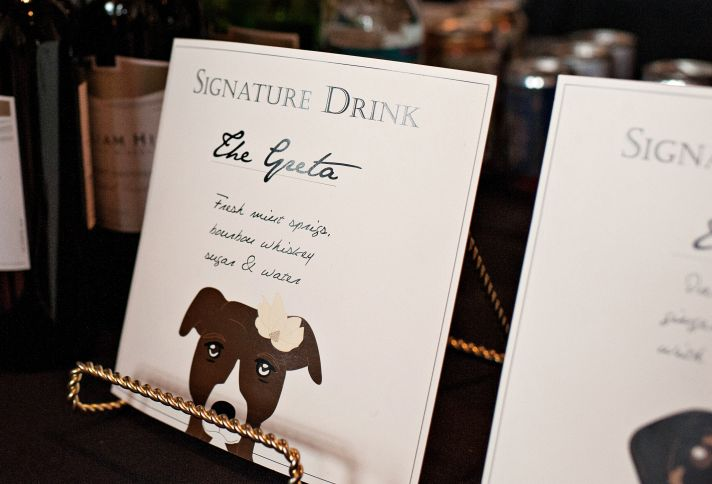 Cute signature drinks wedding sign at reception