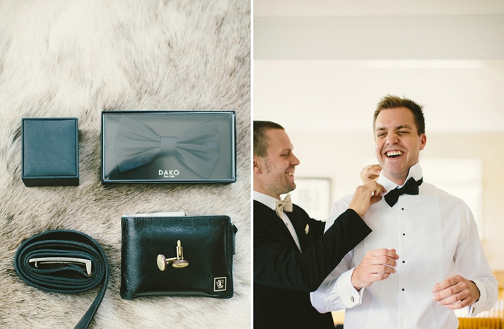 Black Tie groom gets ready and has a laugh