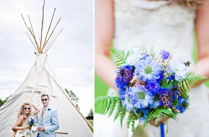 Glamping themed wedding in the UK something blue bouquet