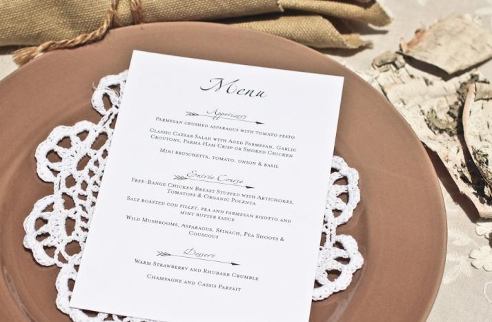 Elegant glamping wedding menu white and black