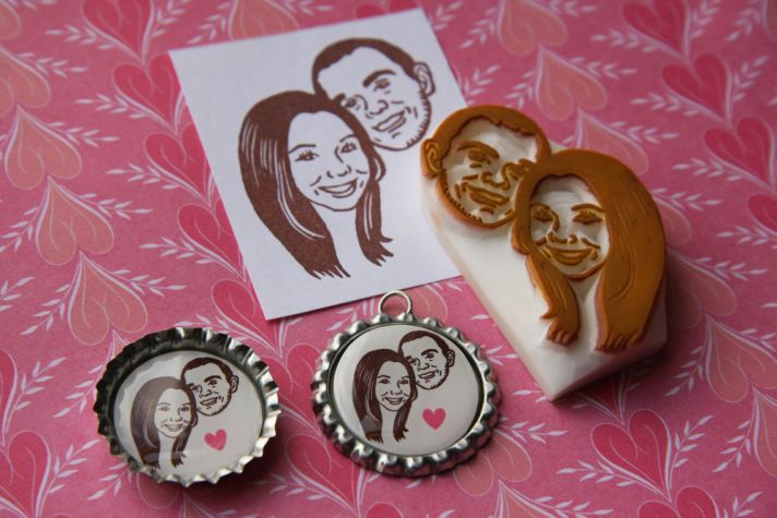 Handcarved custom wedding stamp