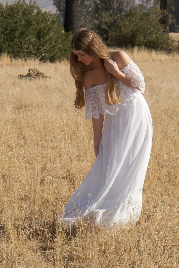 bohemian wedding dress with lace overlay from 1970s