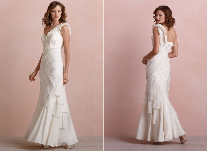 Ribboned Silk BHLDN wedding dress