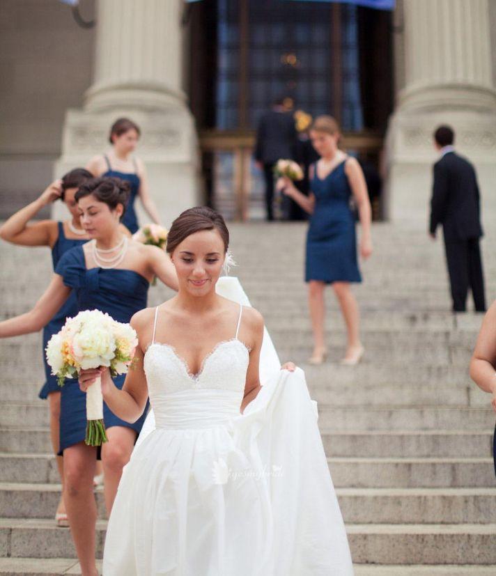 Amsale Coco wedding dress on classic bride