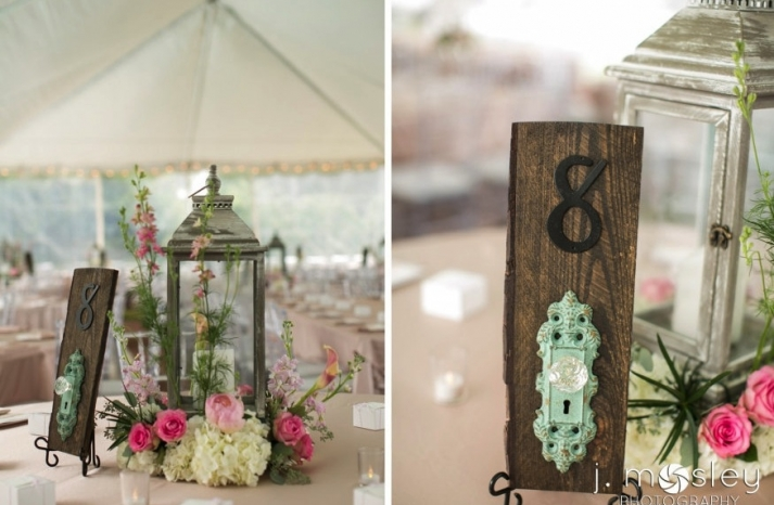 vintage wood door knockers as wedding table numbers
