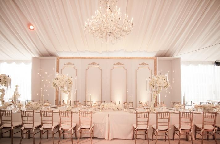 White Lilac Inc elegant wedding reception design with statement chandelier
