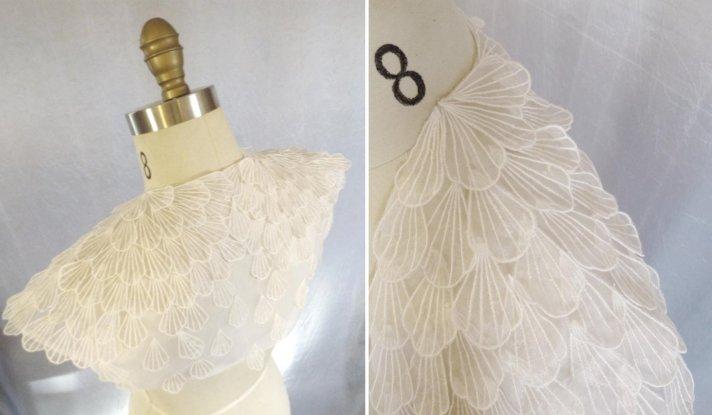 ivory bridal bolero with scalloped design