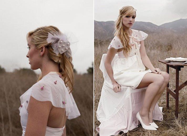 Rosette embellished bridal cape