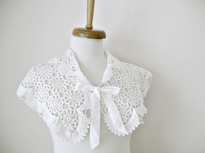 White hand crocheted bridal shrug