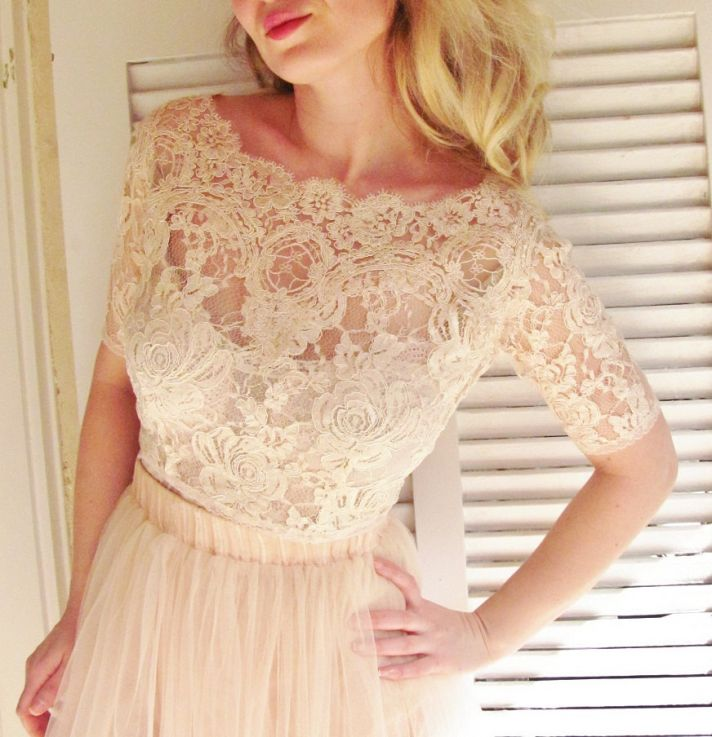blush pink lace bridal cover up