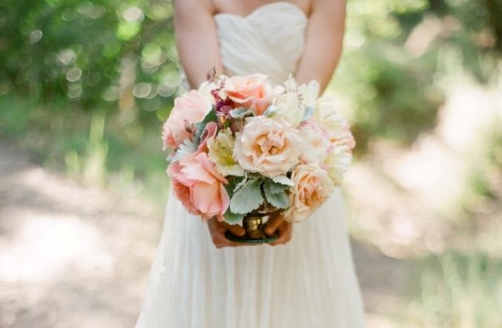 Peach sage blush and ivory wedding bouquet
