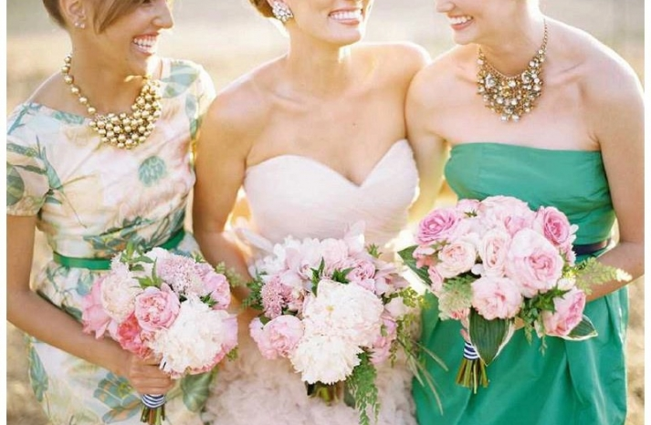 ivory and pale pink peony wedding bouquet with striped ribbon 2