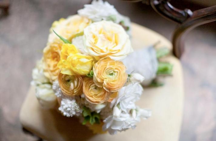 Peony ranunculus and gardenia wedding bouquet