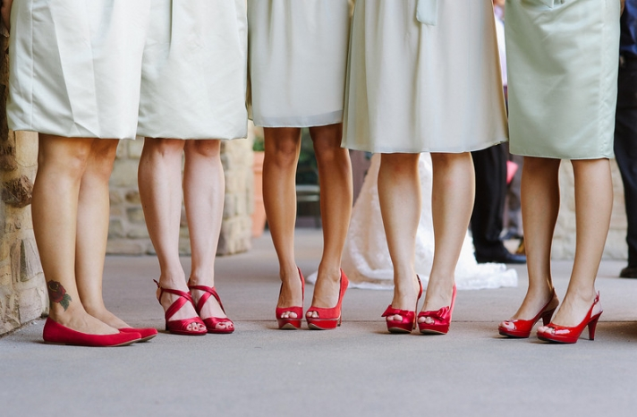 Bright red bridesmaid shoes with mint green dresses