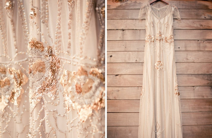 ivory with copper Claire Pettibone wedding dress