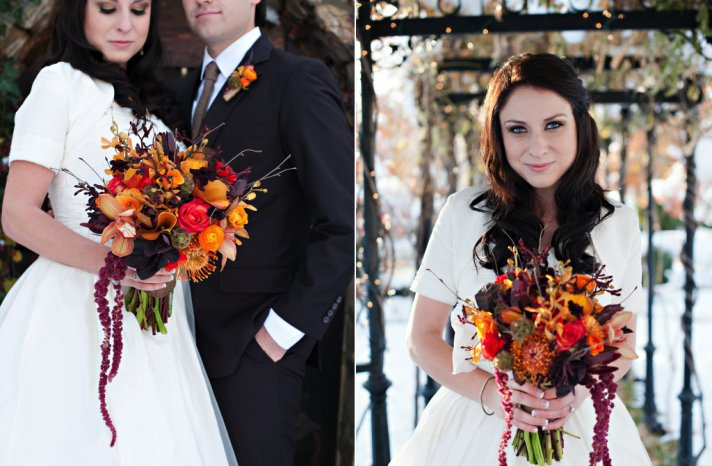 Rustic fall wedding bouquet in red orange and wine