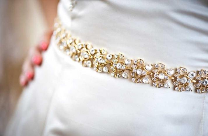 gold beaded bridal belt to adorn a simple wedding dress
