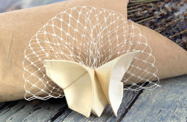 Ivory birdcage bridal veil with origami butterfly