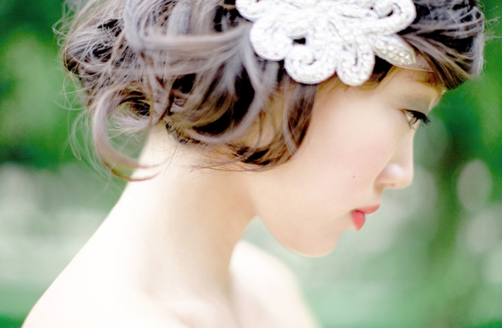 Bridal beauty portraits vintage updo with beaded hairclip