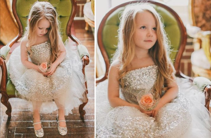 Silver sequin tulle flower girl dress