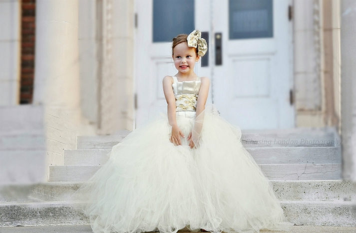 ivory and gold tulle ball gown flower girl dress