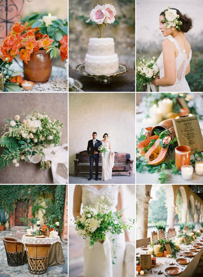 Orange ivory green fall wedding colors