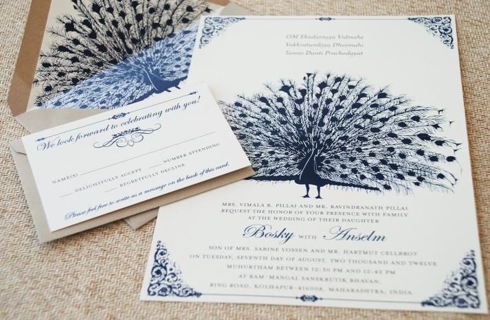 midnight blue and ivory peacock wedding invitations