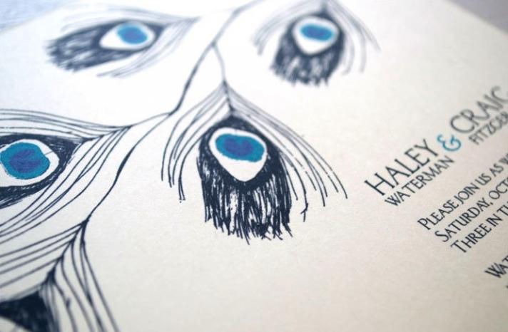 elegant blue and ivory peacock wedding invitation
