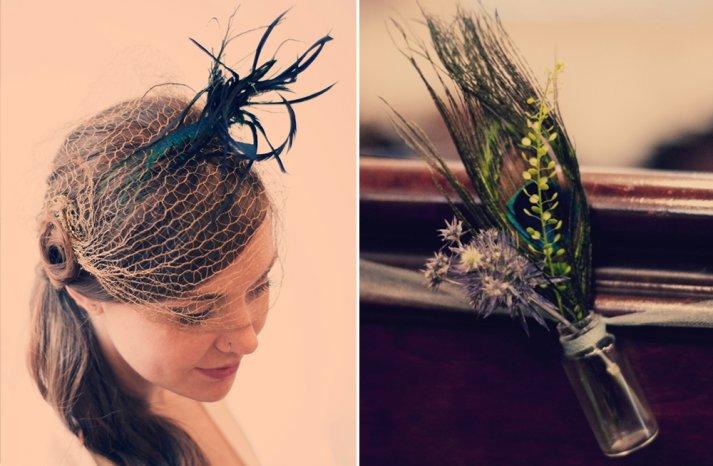 Peacock wedding hat and aisle decor