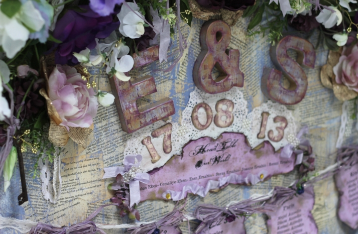 vintage romance wedding escort card display incorporating antique book pages