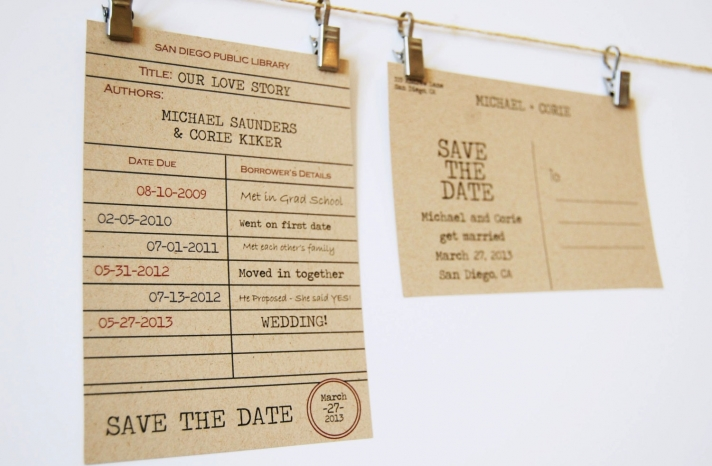 vintage library card wedding save the date