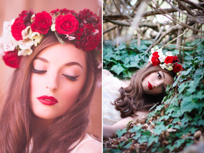 Floral wedding crown with red roses and white orchids