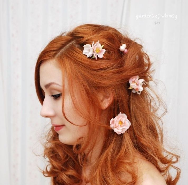 romantic pink floral bobbi pins for brides